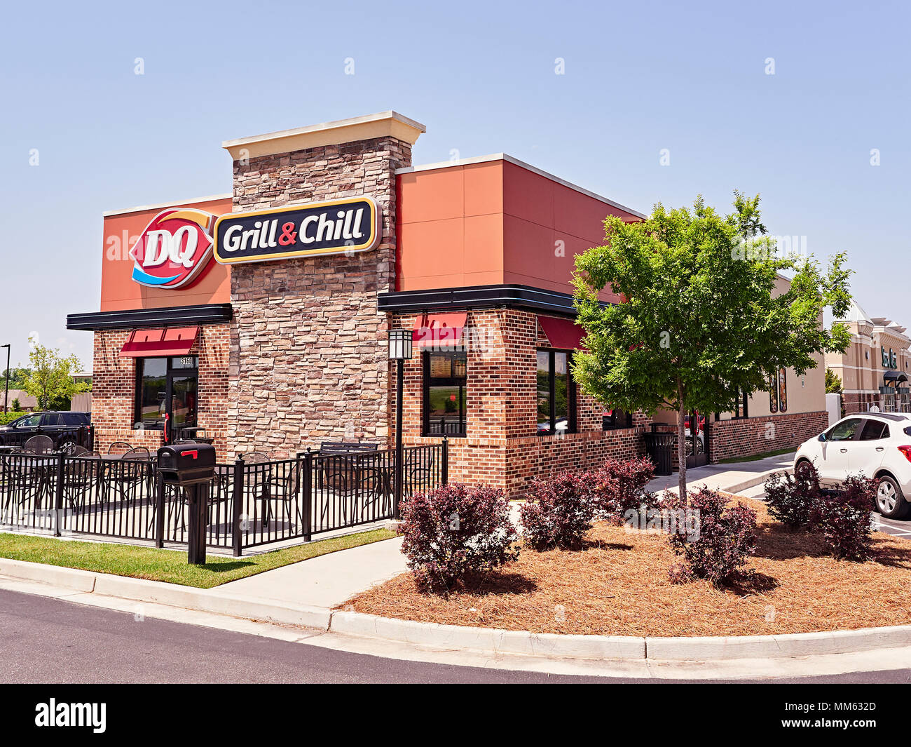 Exterior entrance to a Dairy Queen, DQ, Grill and Chill fast food restaurant in Montgomery, Alabama USA. - Stock Image