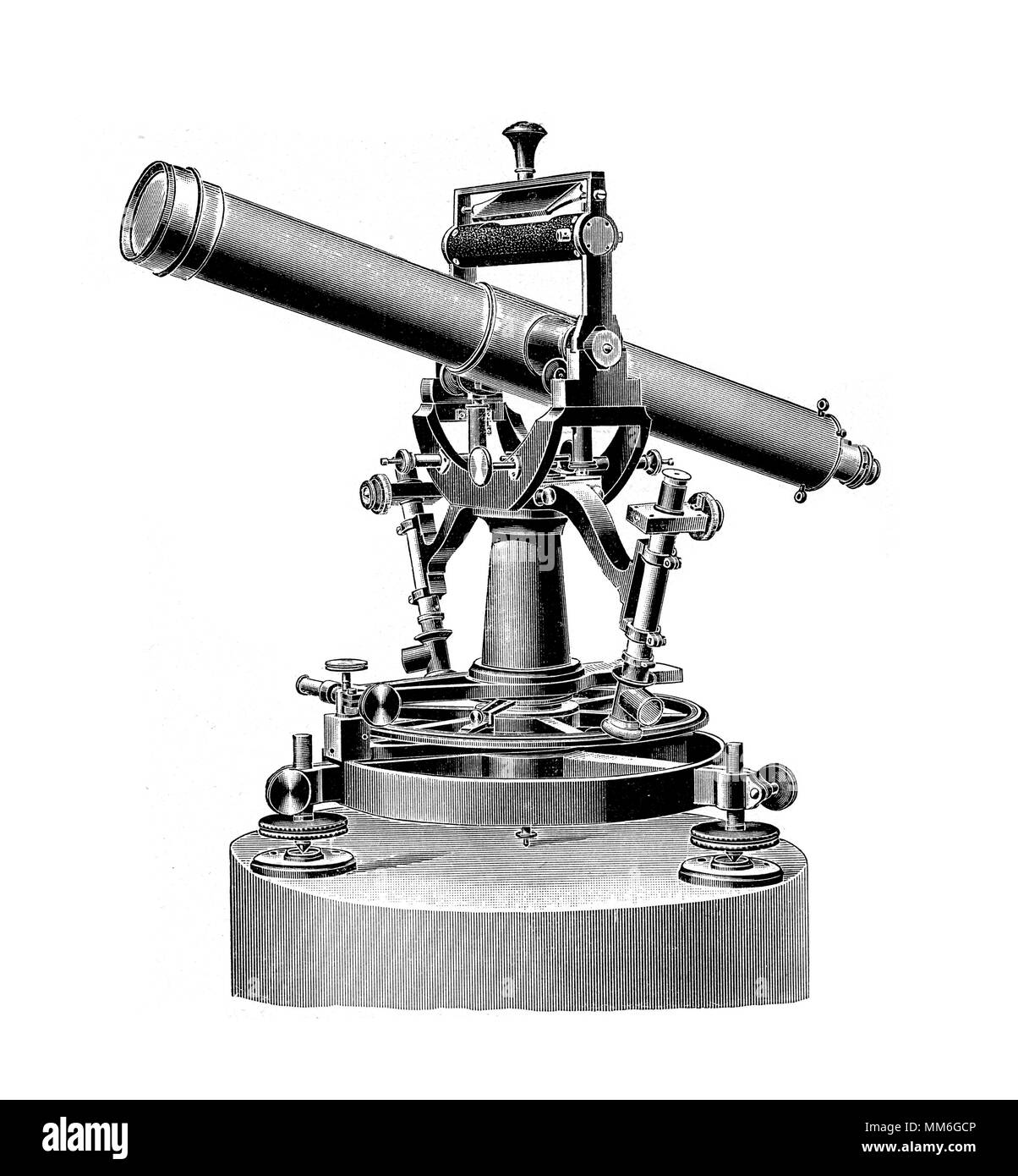 theodolite, precision instrument measuring angles with a movable telescope - Stock Image