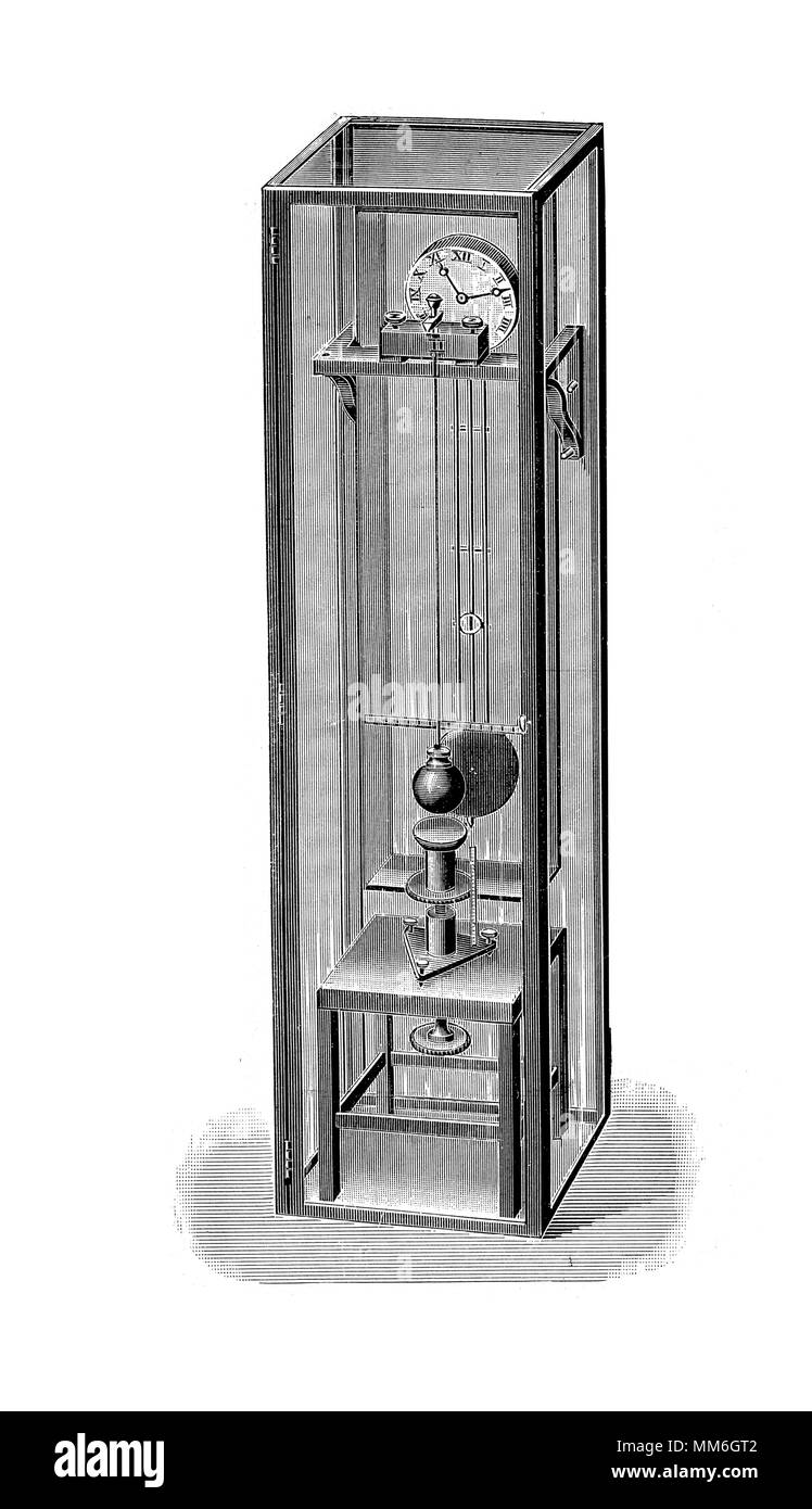 pendulum clock with a swinging weight, its timekeeping element , vintage engraving XIX century - Stock Image
