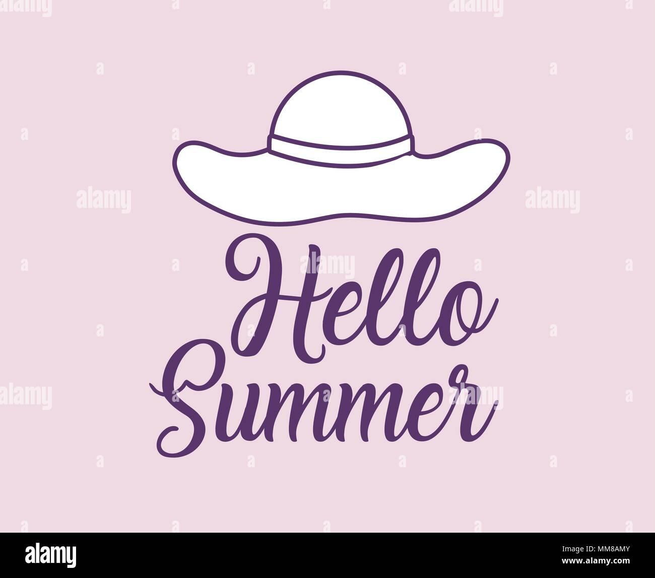 51bb799db6b Hello summer design with beach hat over background