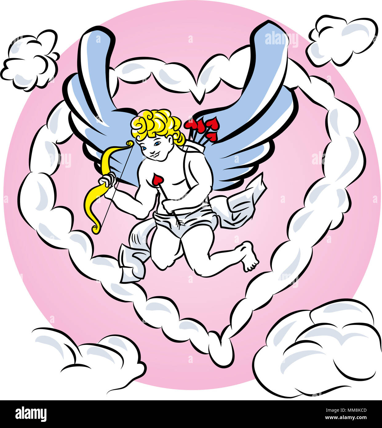 Cupid in the clouds shaped heart. illustration of a valentine's day cupid ready. - Stock Image