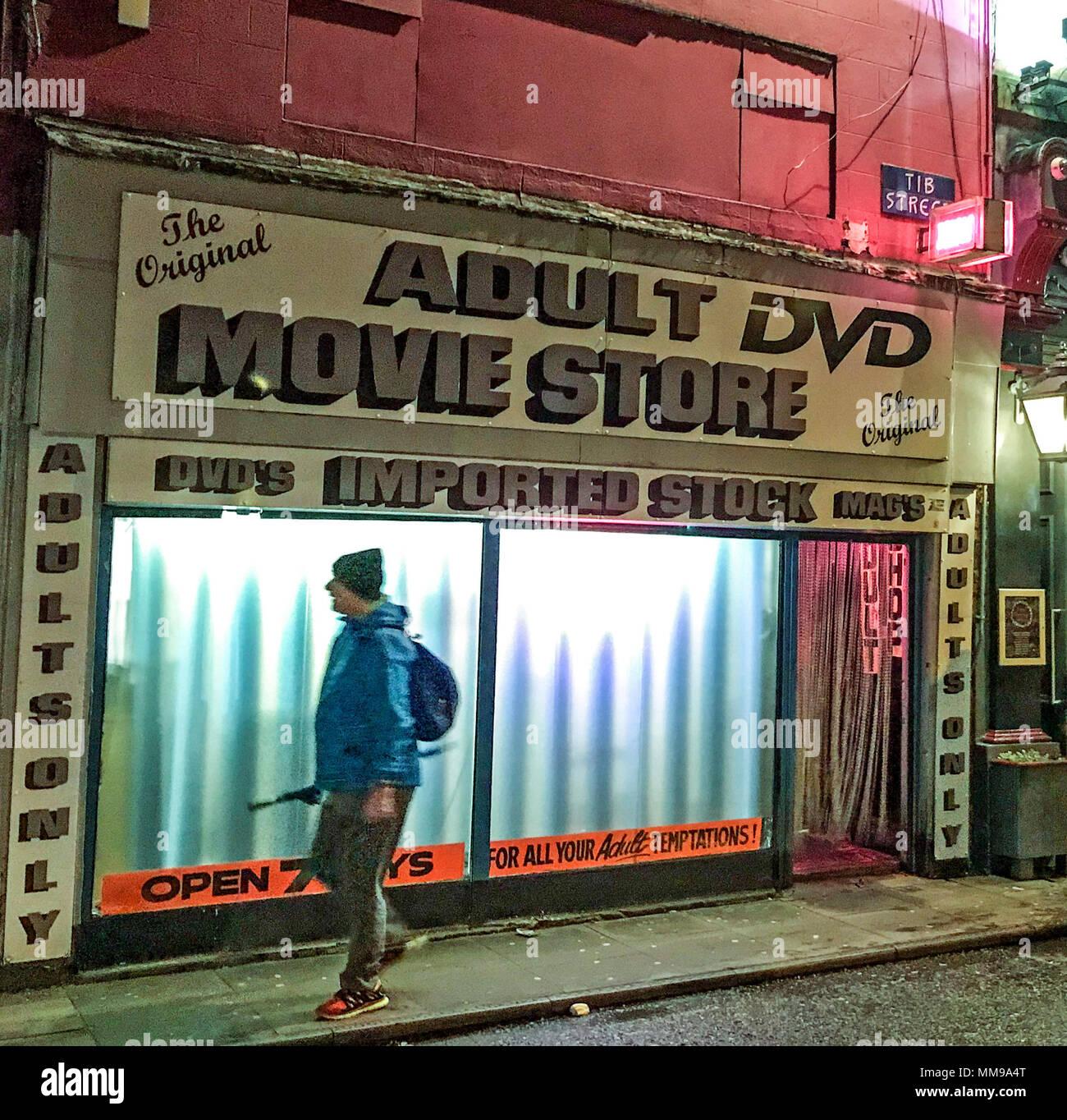 GoTonysmith,@HotpixUK,Adult,DVD,Movie Store,Movie,Store,Tib St,Tib,Manchester,Lancs,England,UK,GB,Sex,Shop,man,outside,looking,in,man looking in,Movie store,adult,adults,only,adults only,imported,stock,sex aids,aid,aids,Tib St Adult Shop,shops,seedy,The Original,the,original,night,evening,dusk