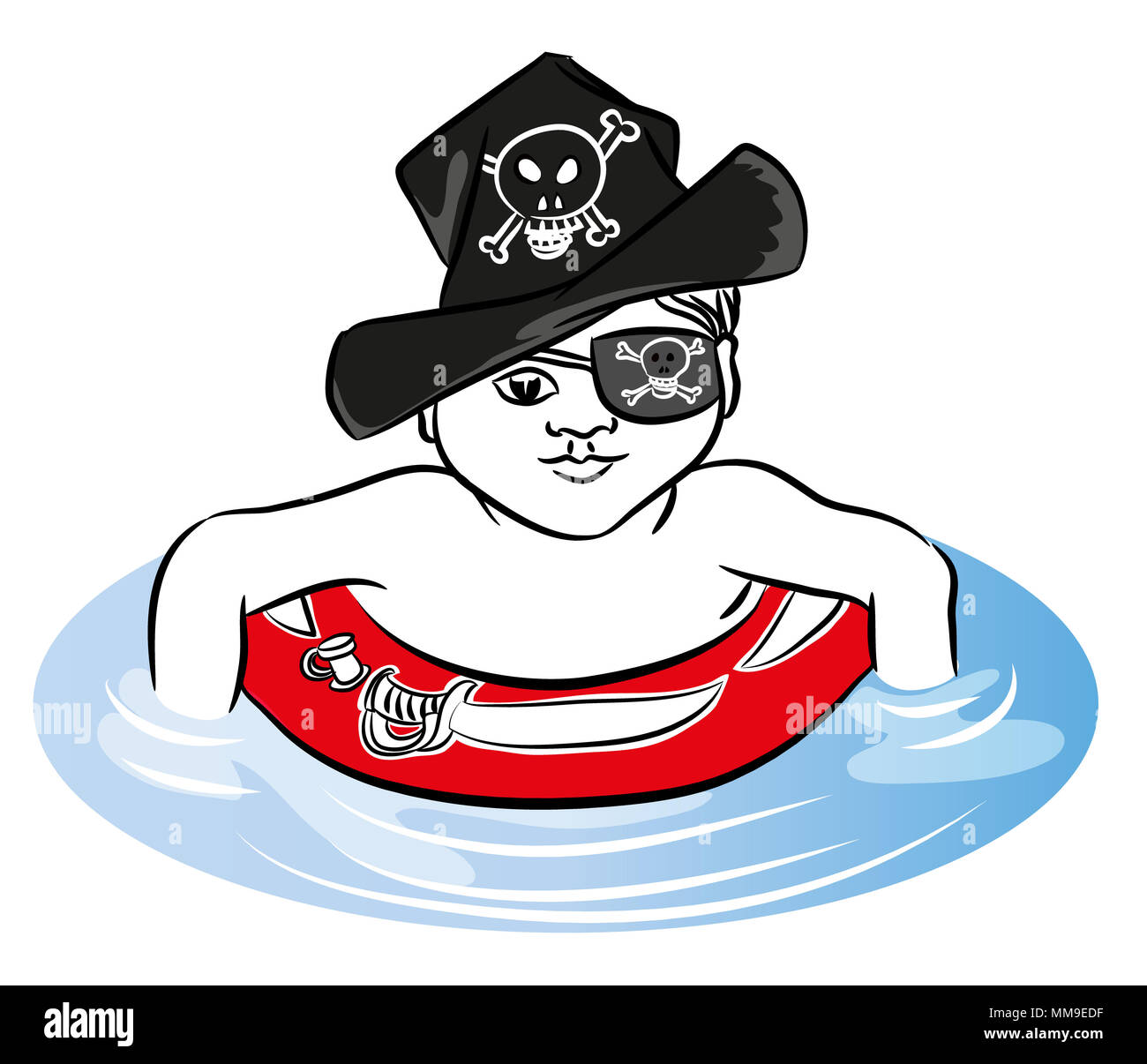 Pirate boy Pirate boy swimming with rubber ring in the sea. Pirate boy with rubber ring and hat. - Stock Image
