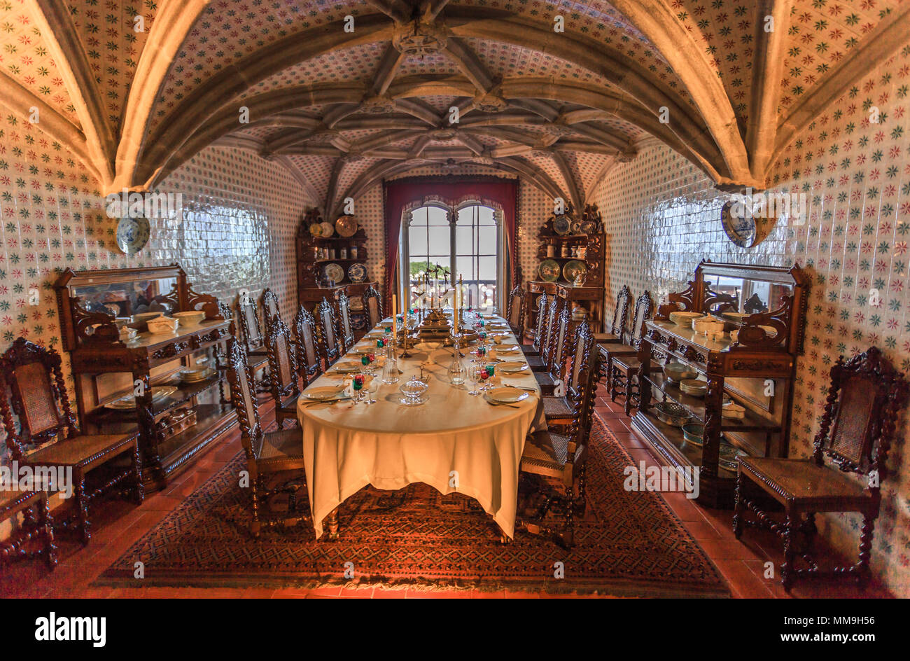Sintra, Portugal   March 21, 2018: Historic And Traditional Gothic  Furniture Of Dining Room Inside The Famous Pena Palace Of Sintra