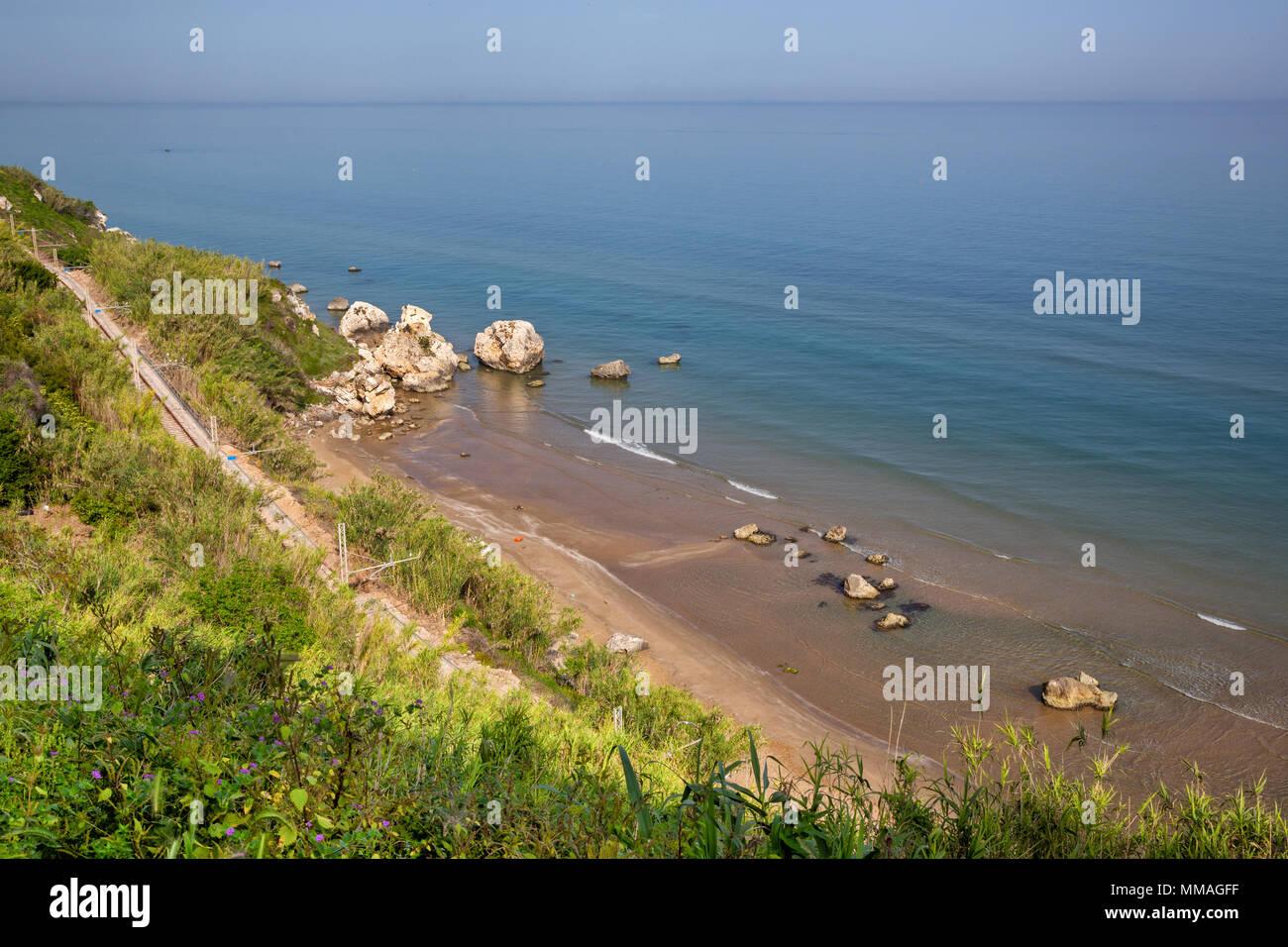 Rodi Garganico (Puglia, Italy) - View of the beach and the sea - Stock Image
