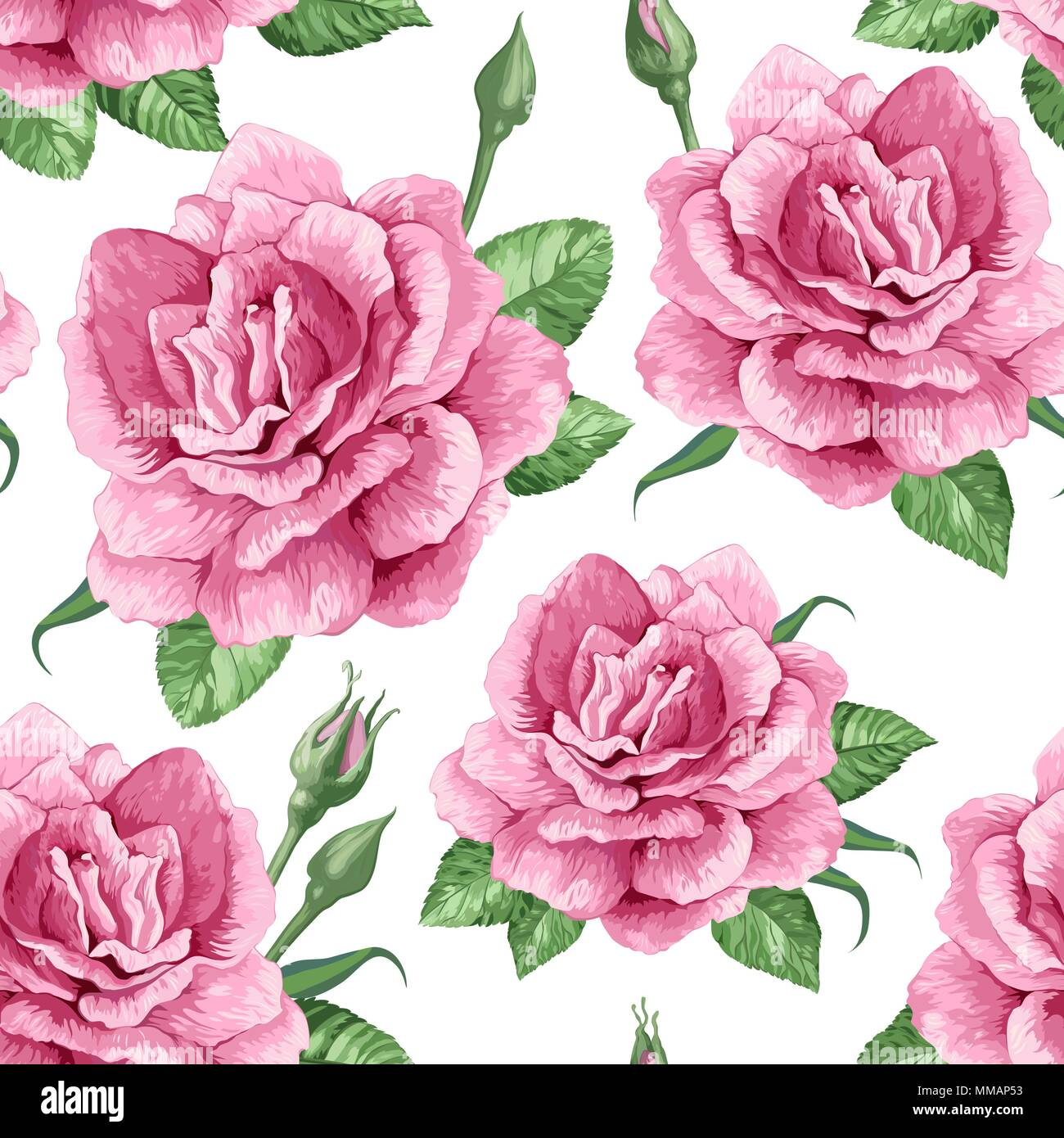 Rose Flowers Petals And Leaves In Watercolor Style On White