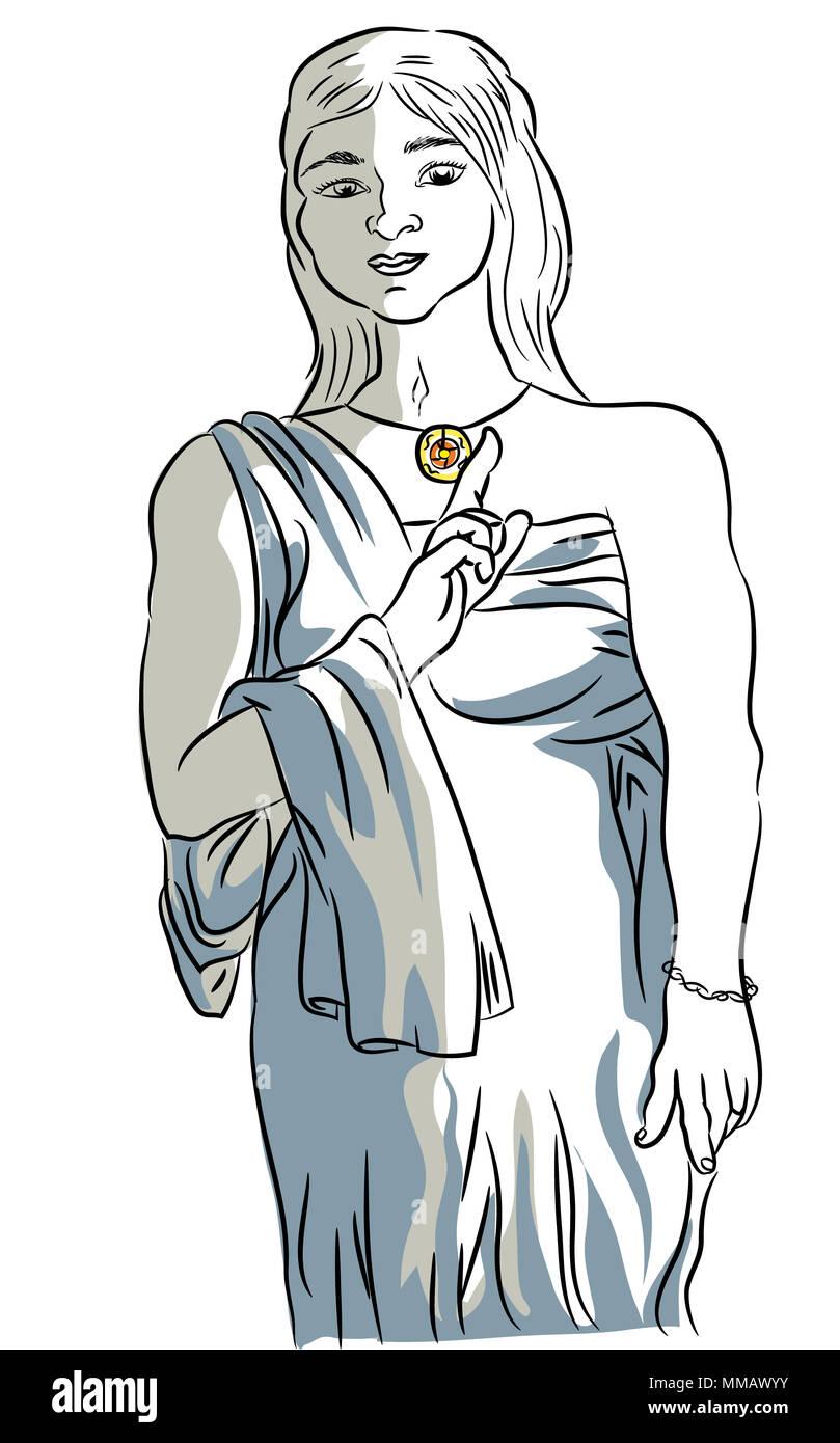 ancient roman woman costume.  illustration of woman with an ancient roman costume. - Stock Image