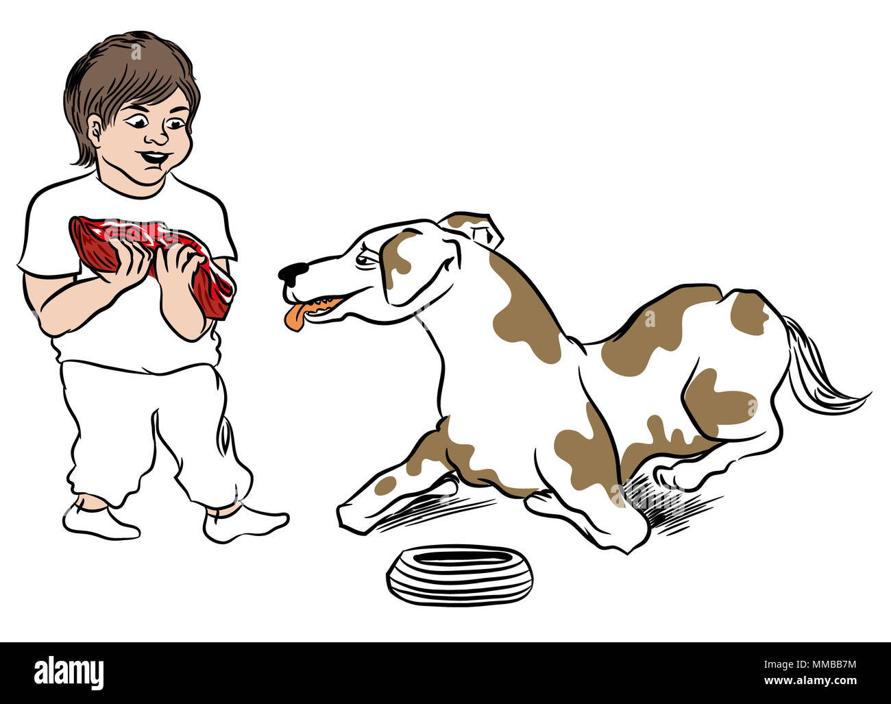 Child giving meal to dog.  Dog waiting for big piece of steak. Boy love his pet. illustration of pet and child. - Stock Image
