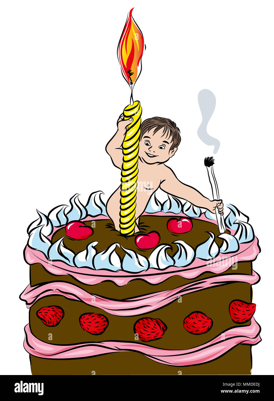 First birthday cake.   Happy First Birthday Cake with Candle and baby. Baby holding matchstick in birthday cake. illustration  first birthday postcard - Stock Image