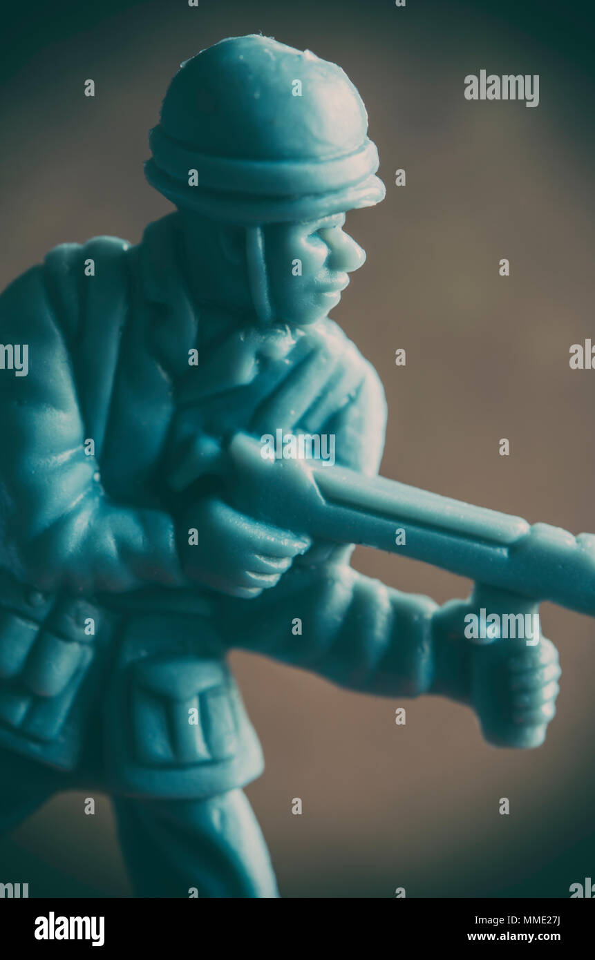 Macro shot of a plastic toy soldier - Stock Image