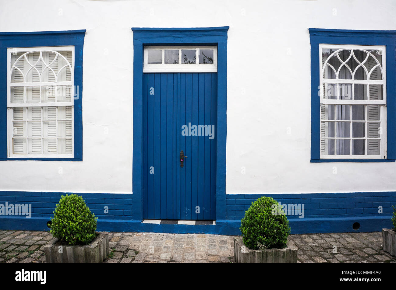 Blue Wooden Door Glass Windows City Morretes Brazil Parallelepiped