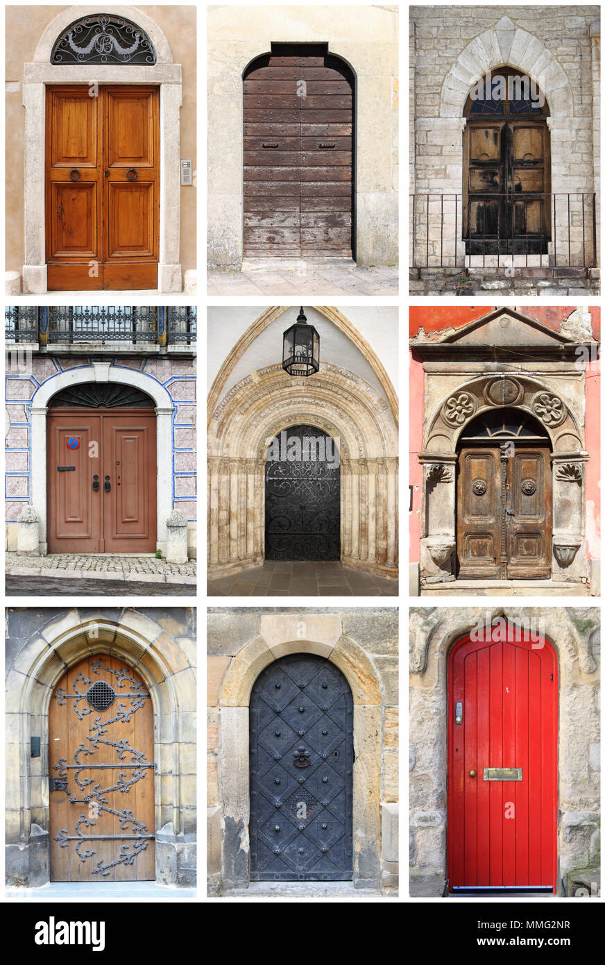 Collage Of Medieval Front Doors With Rounded Arch Stock Photo