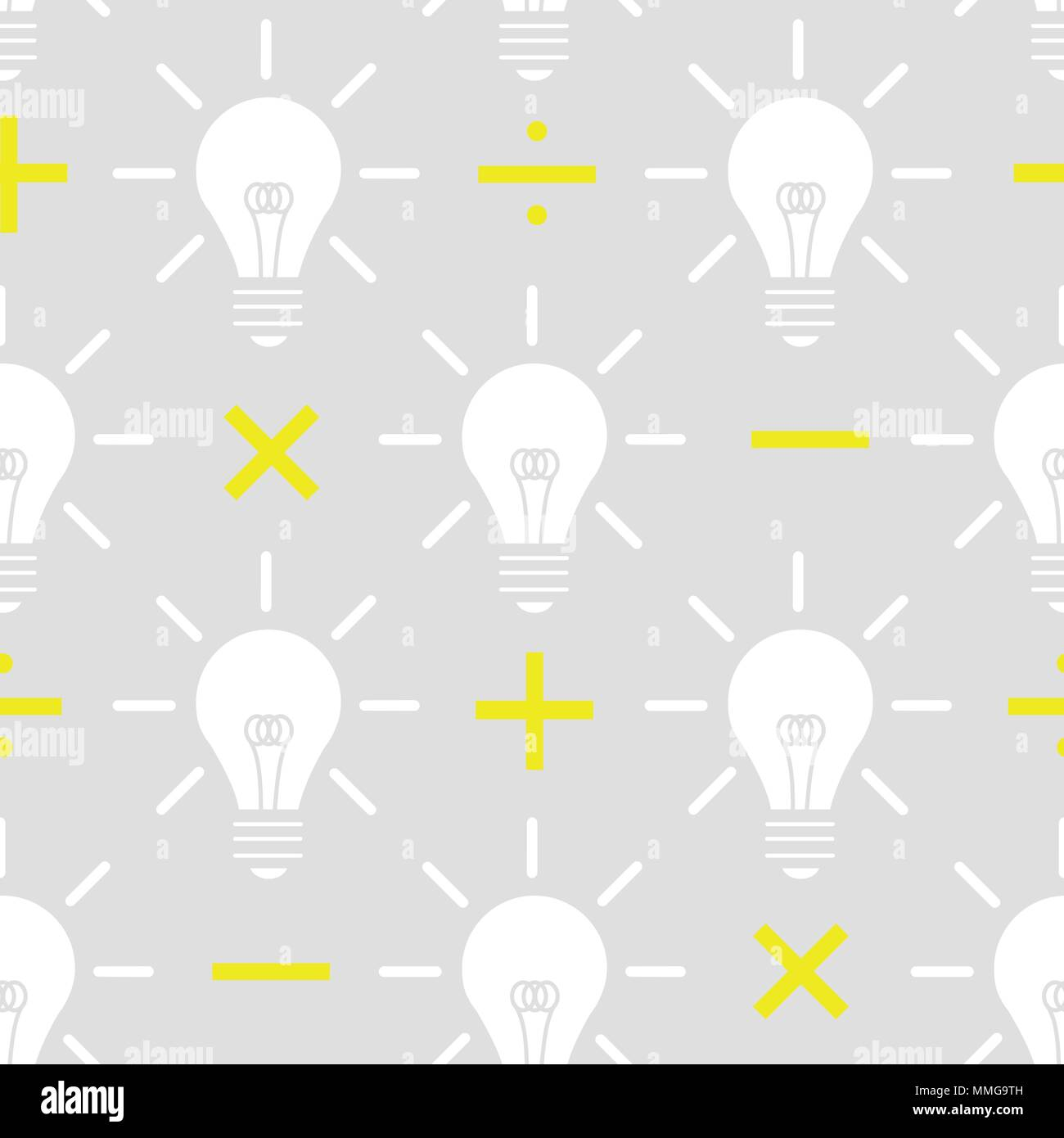 white silhouette light bulb with yellow math sign on gray background