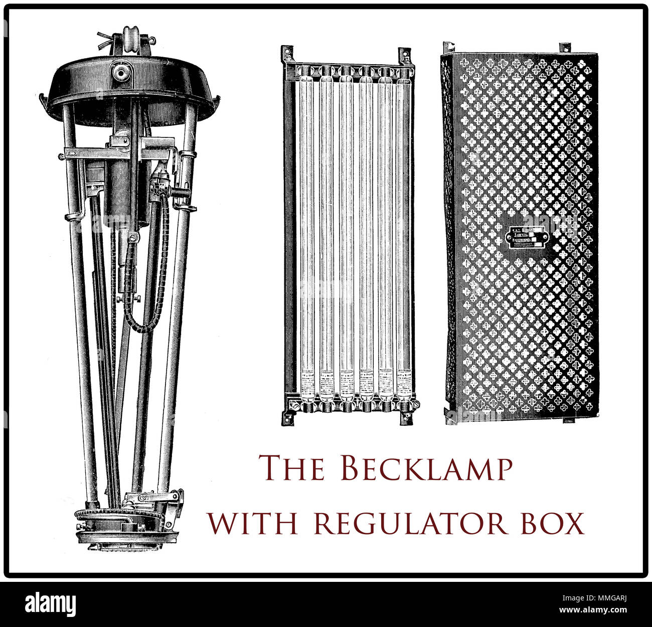 Vintage Becklamp, arc lamp with its regulator box, XIX century engraving - Stock Image