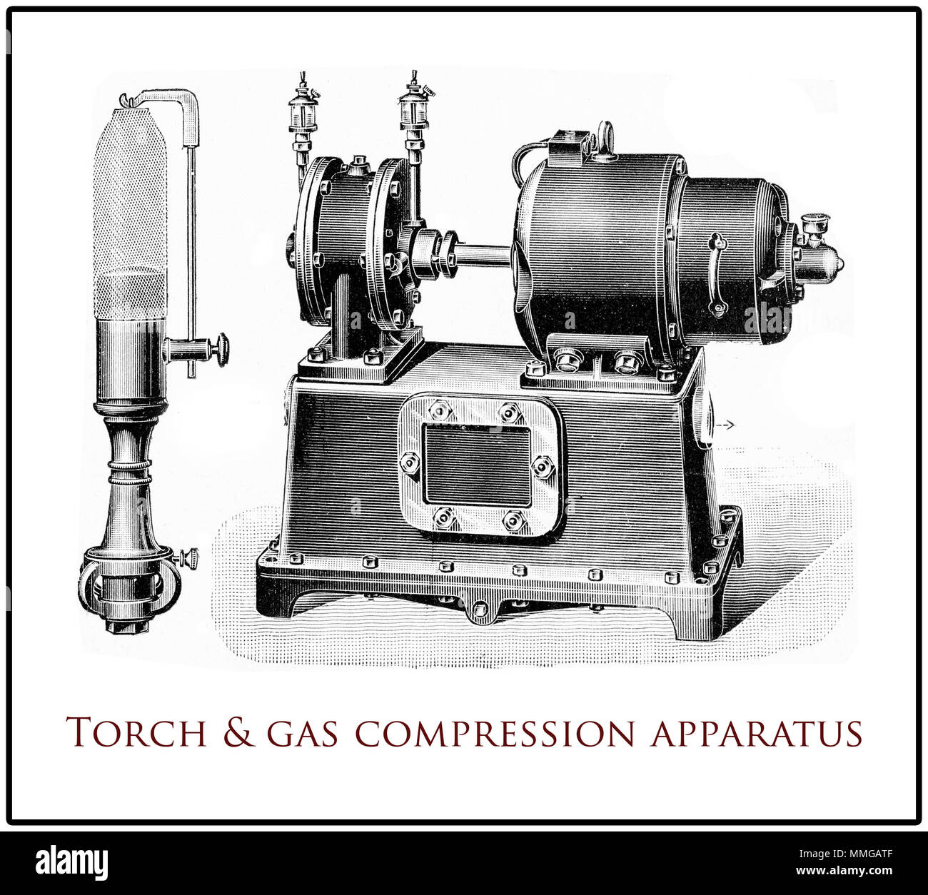 Vintage arc torch with its gas compression equipment, XIX century engraving - Stock Image
