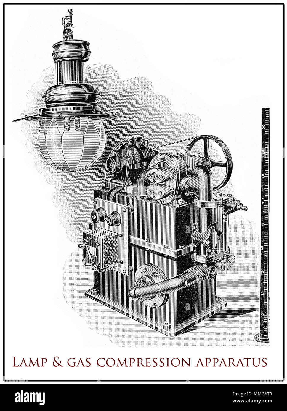 Vintage arc lamp with its gas compression regulator,  XIX century engraving - Stock Image