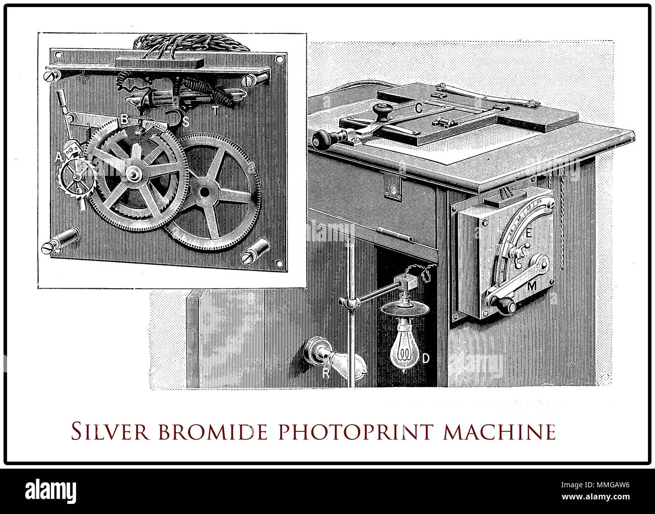 Silver bromide photoprint machine, XIX century engraving - Stock Image