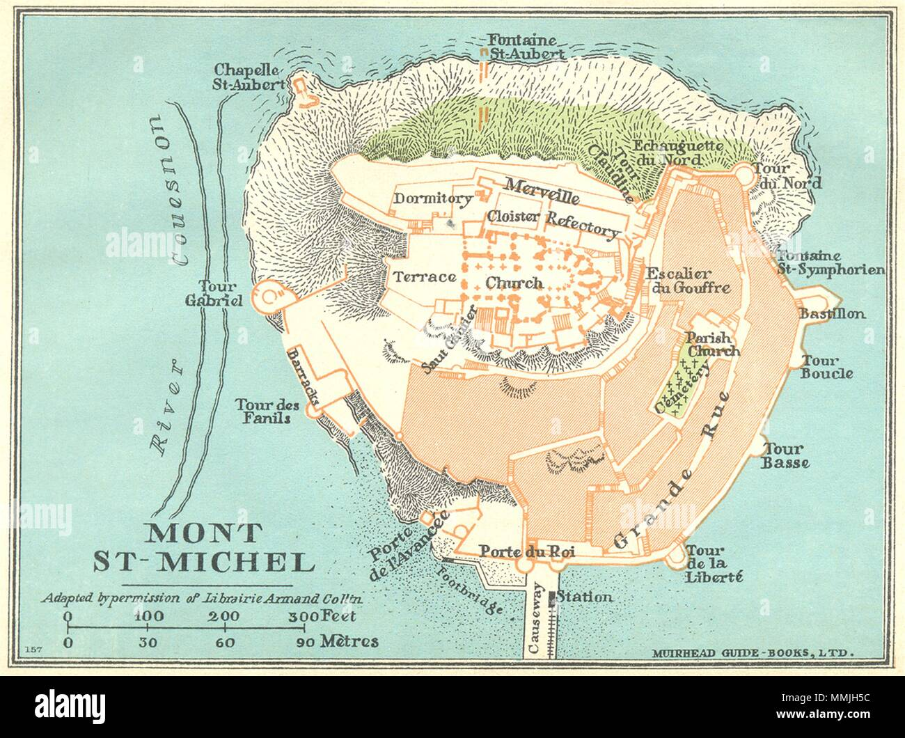 France Mont St Michel 1932 Old Vintage Map Plan Chart Stock Photo
