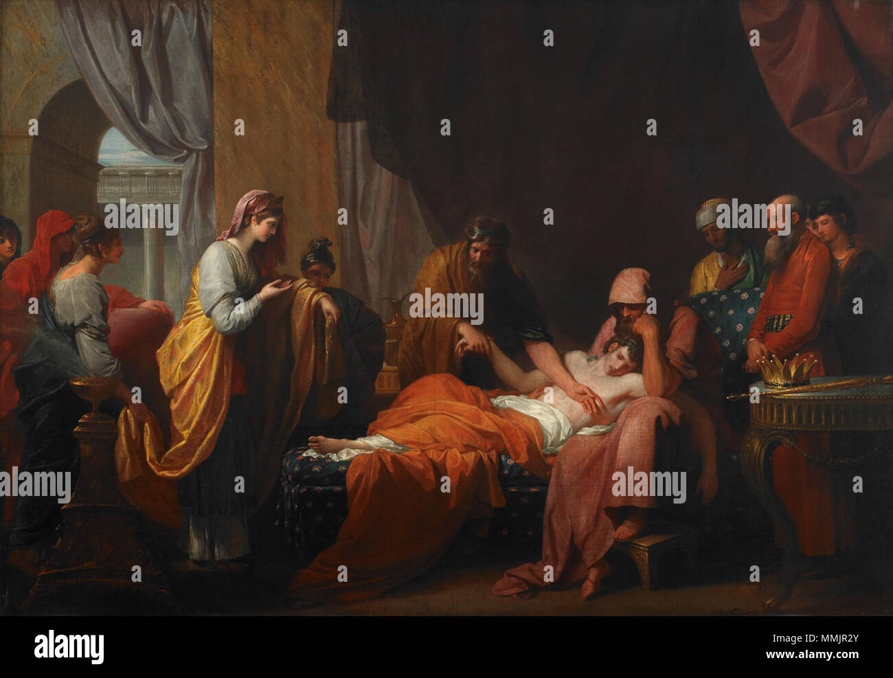 .  English: Painting of the Greek tale of Erastistratus diagnosing Antiochus with unrequited love  Erasistratus the Physician Discovers the Love of Antiochus for Stratonice. 1772. Erasistratus the Physician Discovers the Love of Antiochus for Stratonice - Stock Image