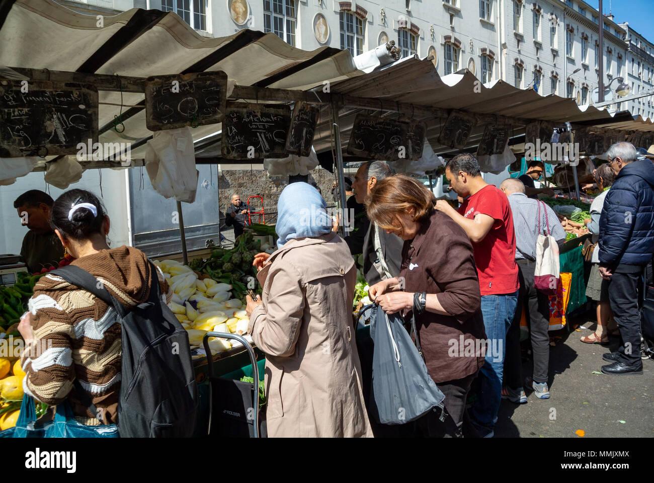 belleville market, paris, france Stock Photo