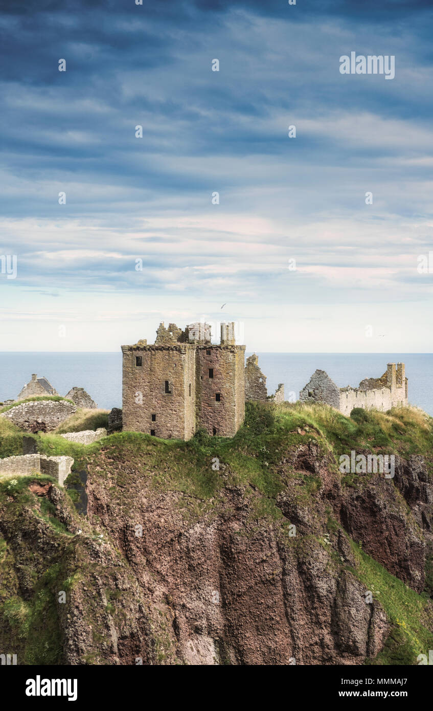 Scenic view of Dunnottar Castle near Stonehaven in north east Scotland - Stock Image