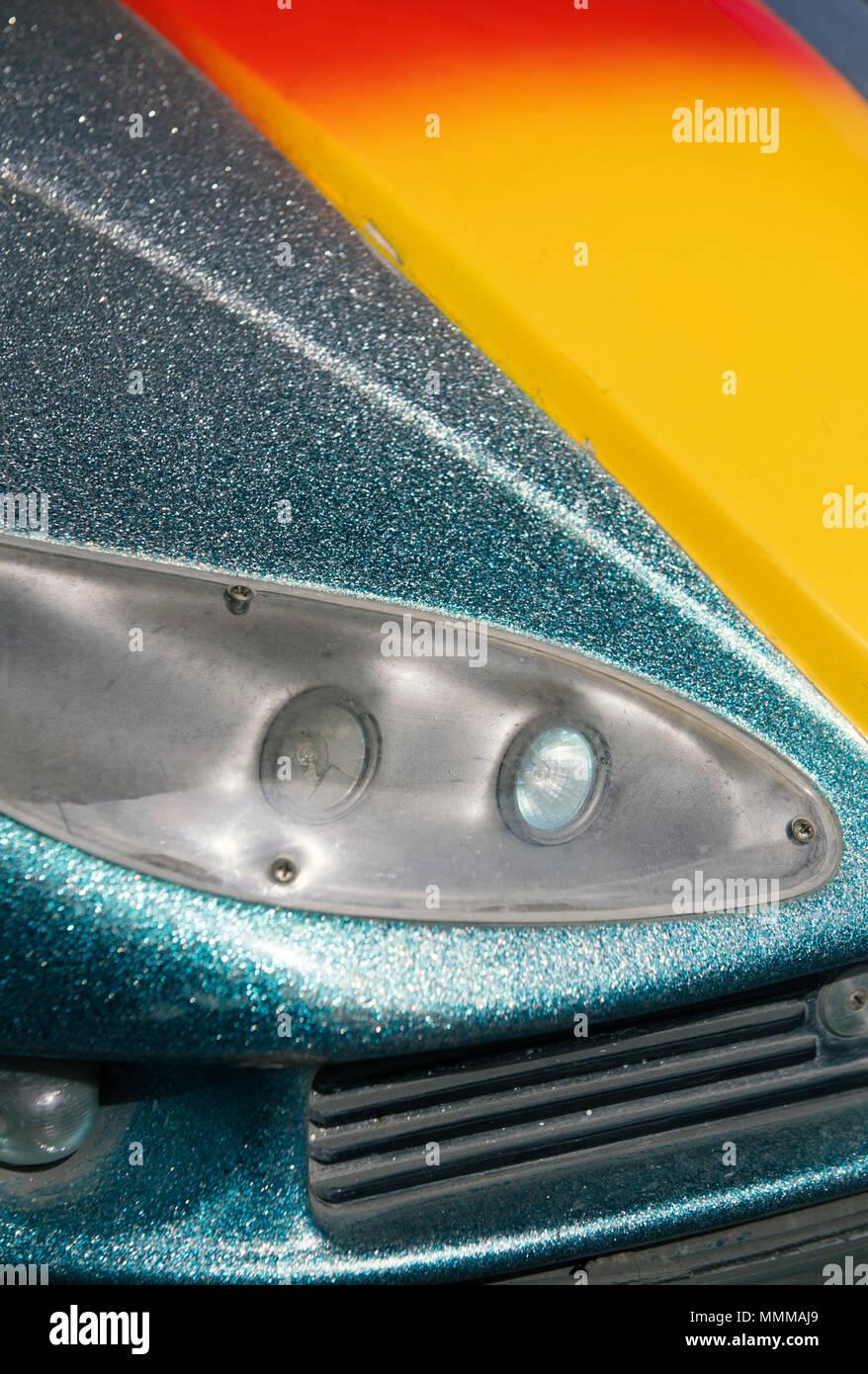 Detail of a bumper car, or dodgem, at a fairground - Stock Image