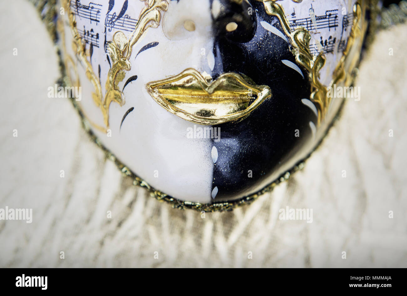 Detail of a Venetian carnival mask - Stock Image