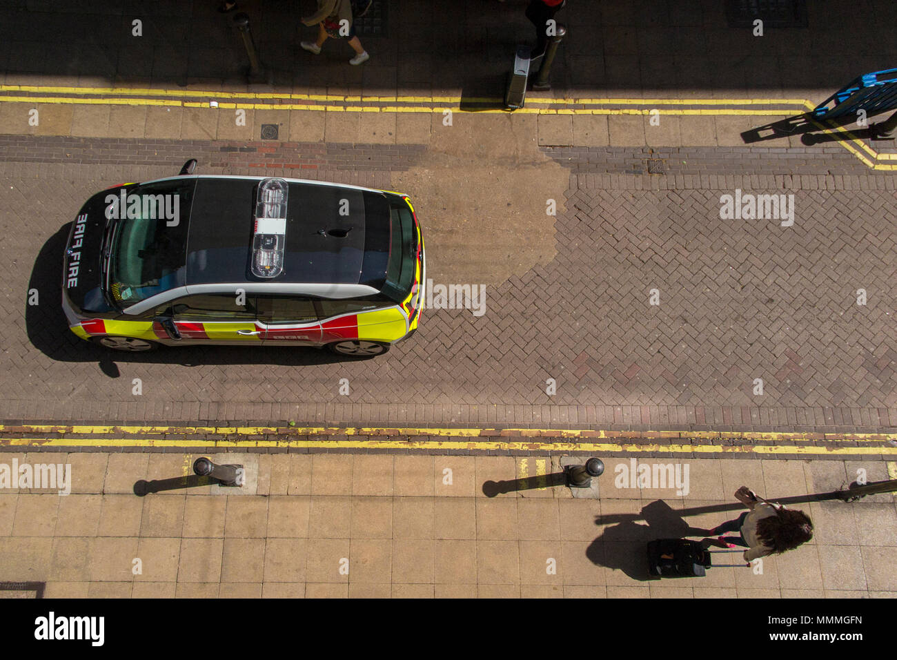 Looking down onto an electric fire brigade car - Stock Image