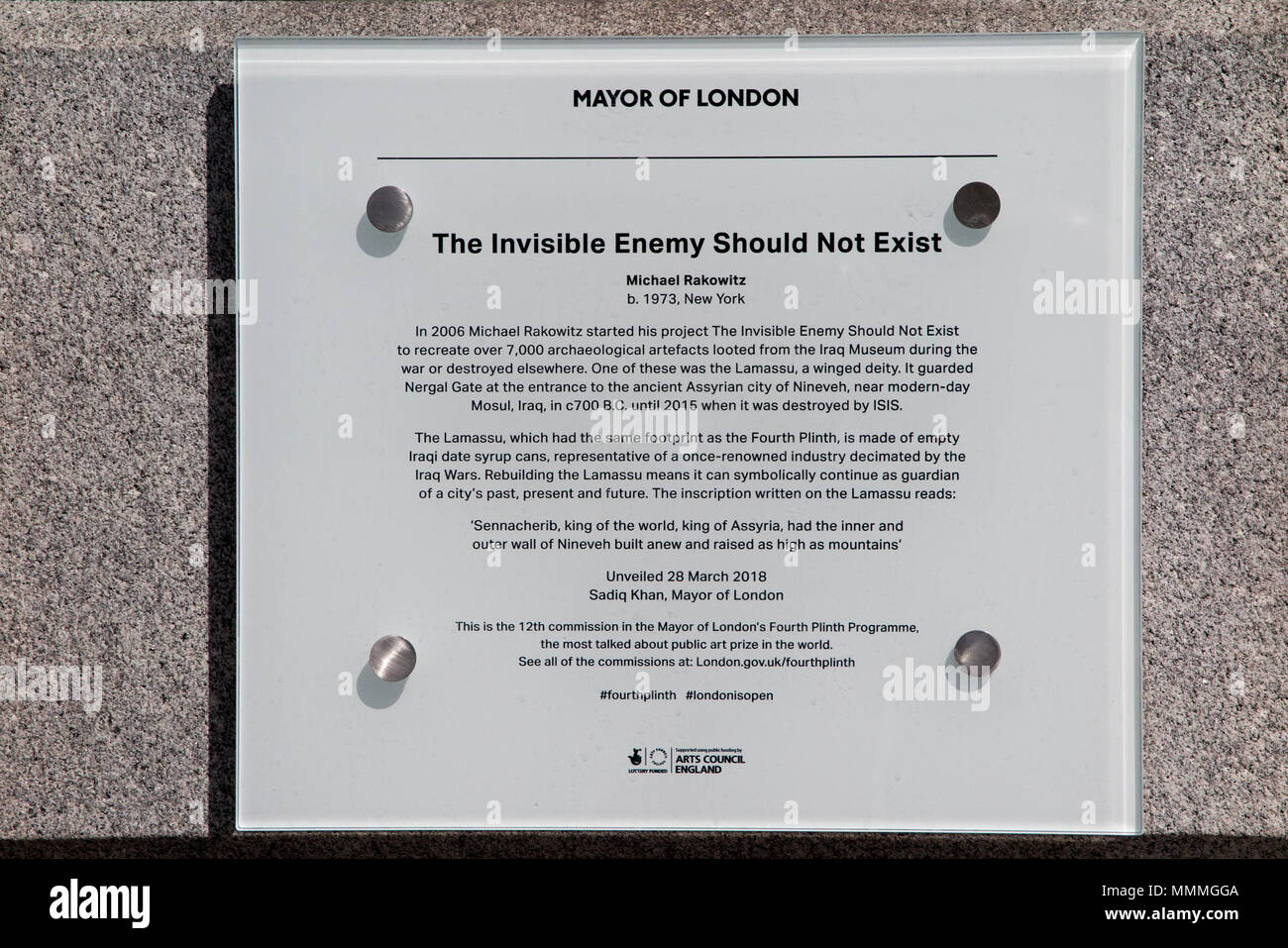 Michael Rakowitz's 'The Invisible Enemy Should Not Exist' - the ninth piece of artwork to grace the The Fourth plinth, Trafalgar Square, London, UK - Stock Image