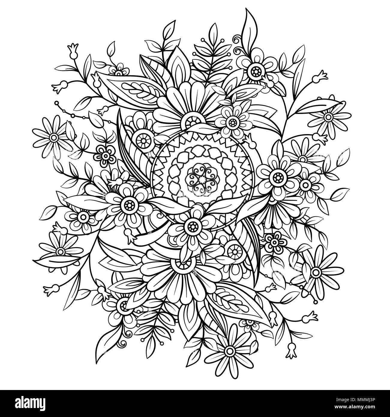 Floral Pattern In Black And White Adult Coloring Book Page With Flowers Mandala Art Therapy Anti Stress Hand Drawn Vector Illustration