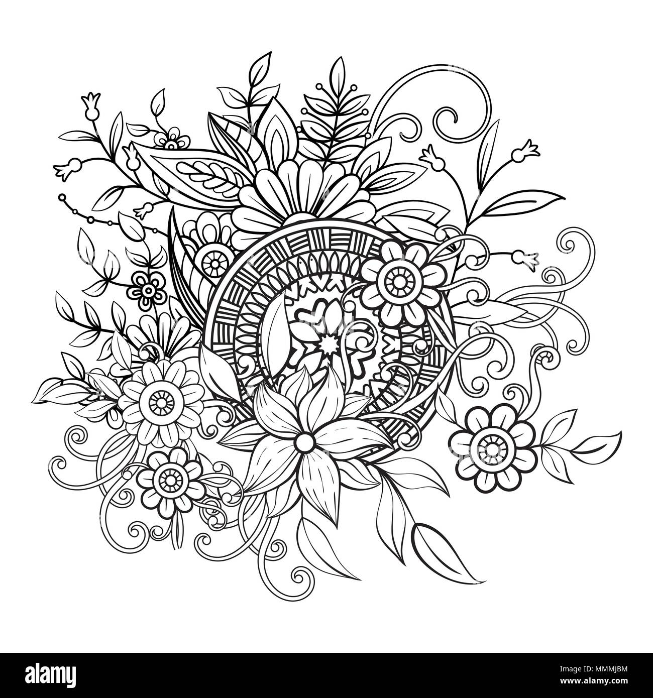 Floral pattern in black and white. Adult coloring book page with ...