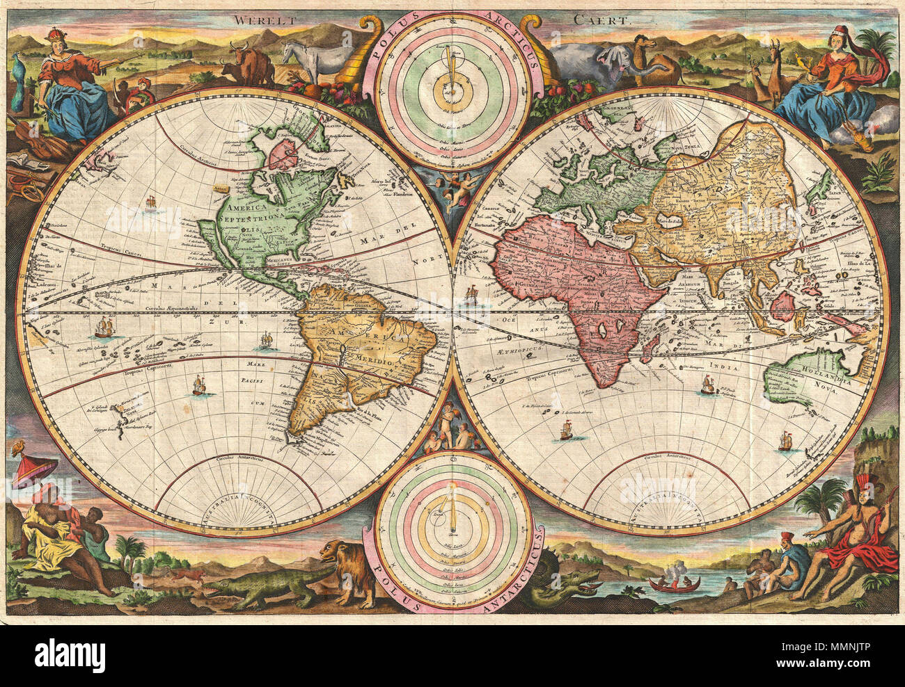 English A Fine 1730 World Map Was Drawn By Stoopendaal For
