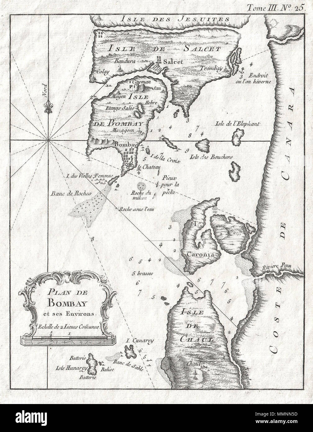 .  English: An extremely attractive and rare 1764 map of Bombay or Mumbai, India by J. N. Bellin. Depicted the peninsula of Bombay as it was in the 1700s – divided into several small islands including Salcet, Bombay, and the Isle of the Jesuits. Shows the city and fort of Bombay at the southern tip of Bombay Island. Also shows the villages of Salcet, Cayman, Mayen, Colay, Bandura and Trombay. Includes the coast of mainland India from the Negalan River northward past the River Penn to what is today Panvel Creek. Offers considerable offshore detail including depth soundings around Bombay Harbor  - Stock Image