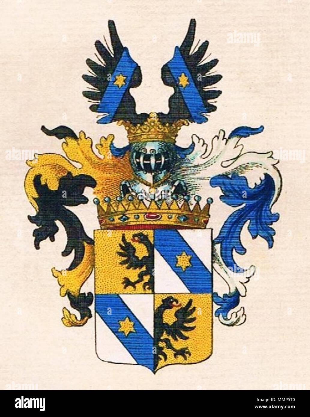 . Deutsch: Wappen der Grafen Alberti von Enno English: Coat of arms of Alberti von Enno (Counts) Alberti von Enno-Grafen-Wappen - Stock Image