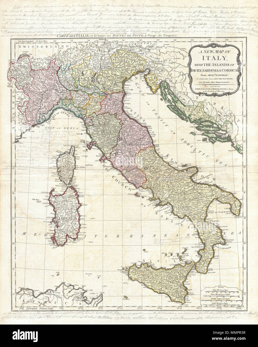 English An Rare And Beautiful 1794 Map Of Italy By J B B D