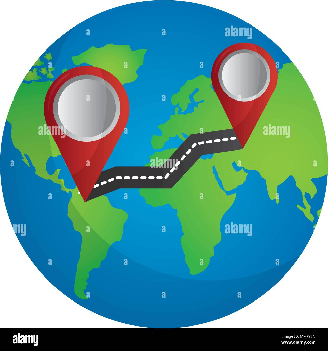 World Map Gps.World Map Route Travel Finding Gps Navigation Vector Illustration
