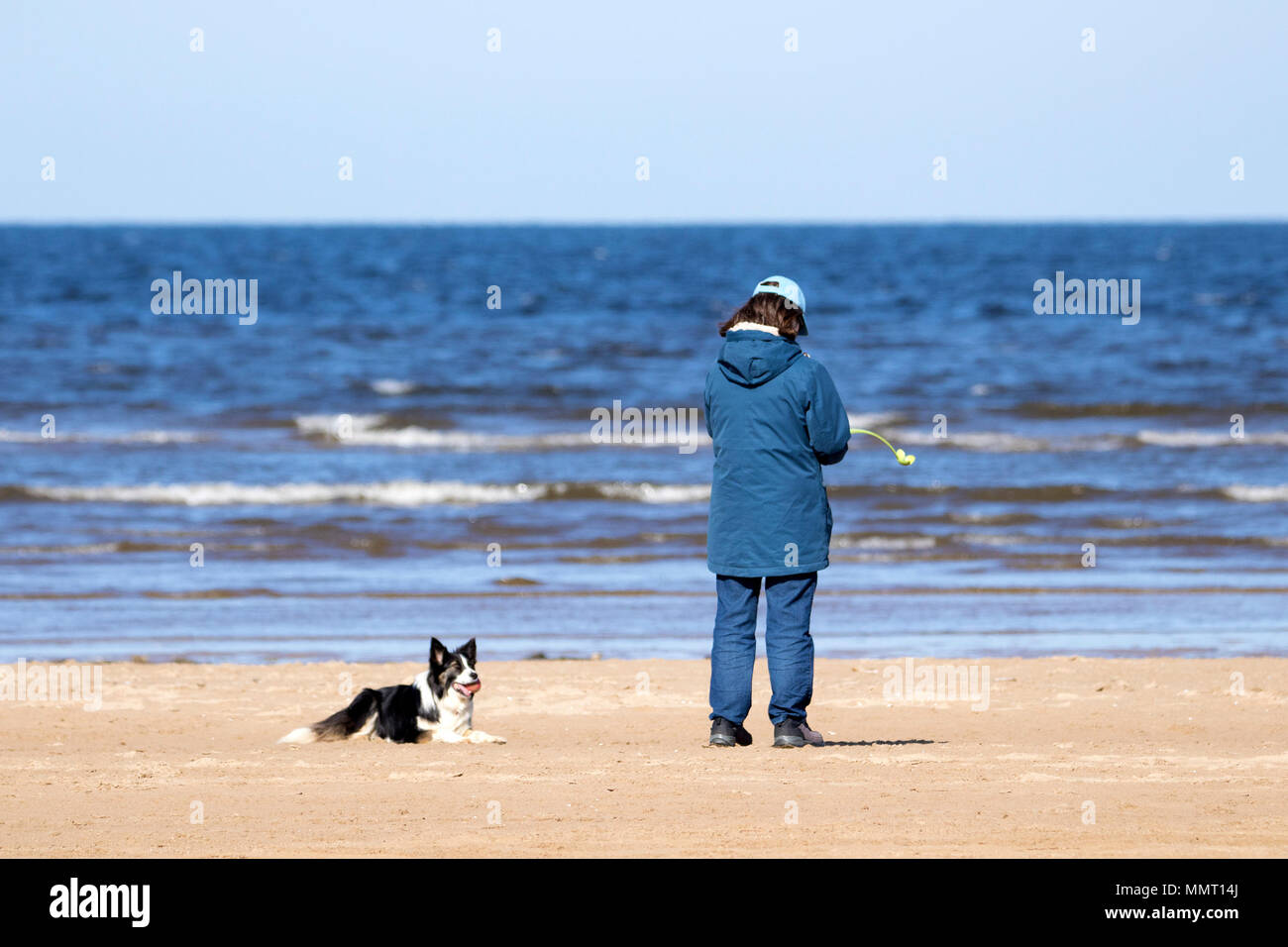 Southport, UK. 13th May 2018. A beautiful sunny and warm start to the day for the dog walkers taking their pooches for a stroll along the golden sands of Southport beach in Merseyside.  Credit: Cernan Elias/Alamy Live News Stock Photo