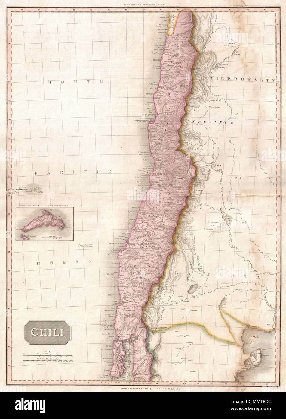 English: This is John Pinkerton\'s stunning 1818 map of Chile. Covers ...