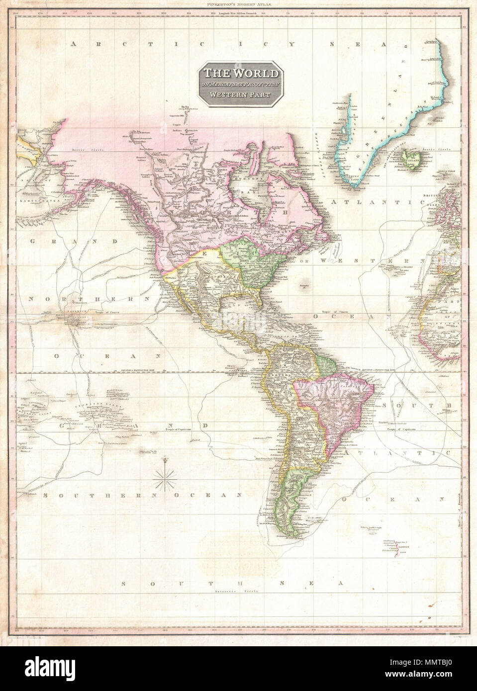 English: A rare and important 1818 map of the Western Hemisphere by ...