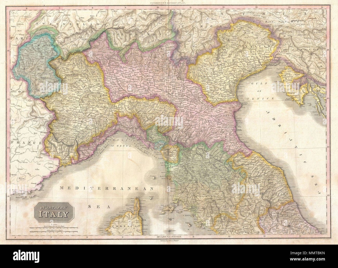 English A Stunning Map Of Northern Italy By John Pinkerton Depicts