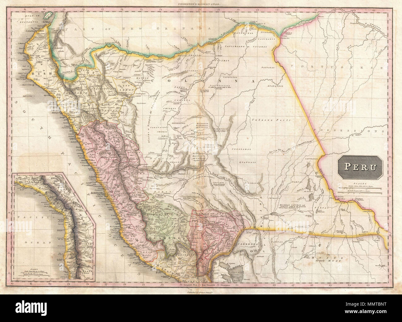 Lake Titicaca On South America Map.English This Is John Pinkerton S Stunning 1818 Map Of Peru Covers