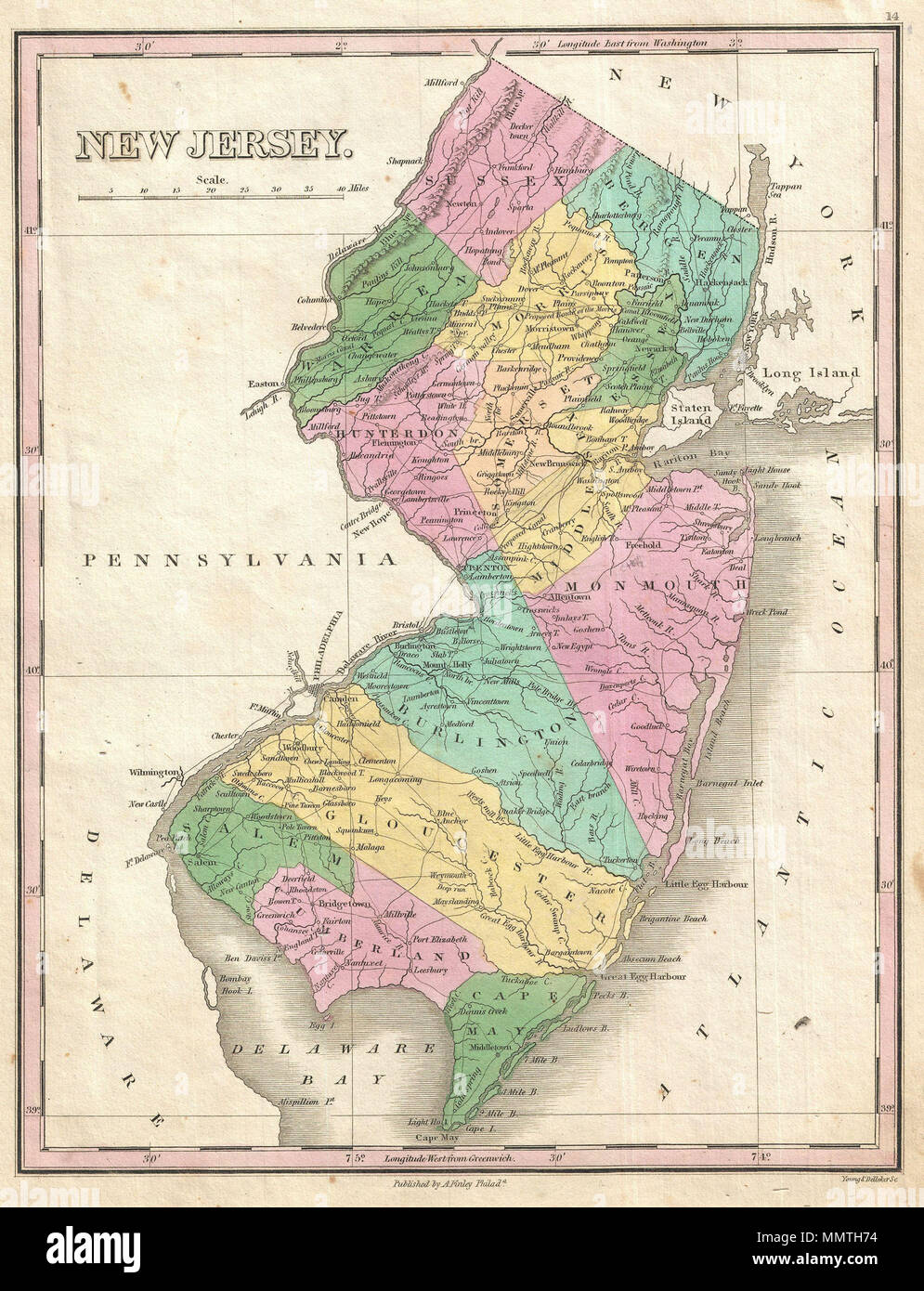 .  English: A beautiful example of Finley's important 1827 map of New Jersey. Depicts the state with moderate detail in Finley's classic minimalist style. Shows river ways, roads, canals, and some topographical features. Offers color coding at the county level. Title and scale in upper left quadrant. Engraved by Young and Delleker for the 1827 edition of Anthony Finley's General Atlas .  New Jersey.. 1827 (undated). 1827 Finley Map of New Jersey - Geographicus - NewJersey-finley-1827 - Stock Image