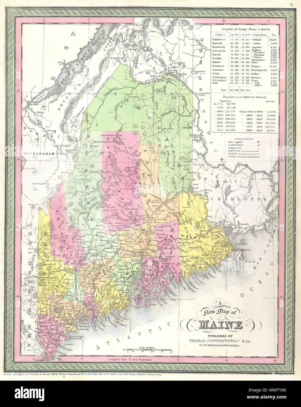 State Of Maine Map With Cities.English A Rare Map Of The State Of Maine Produced By S A Mitchell