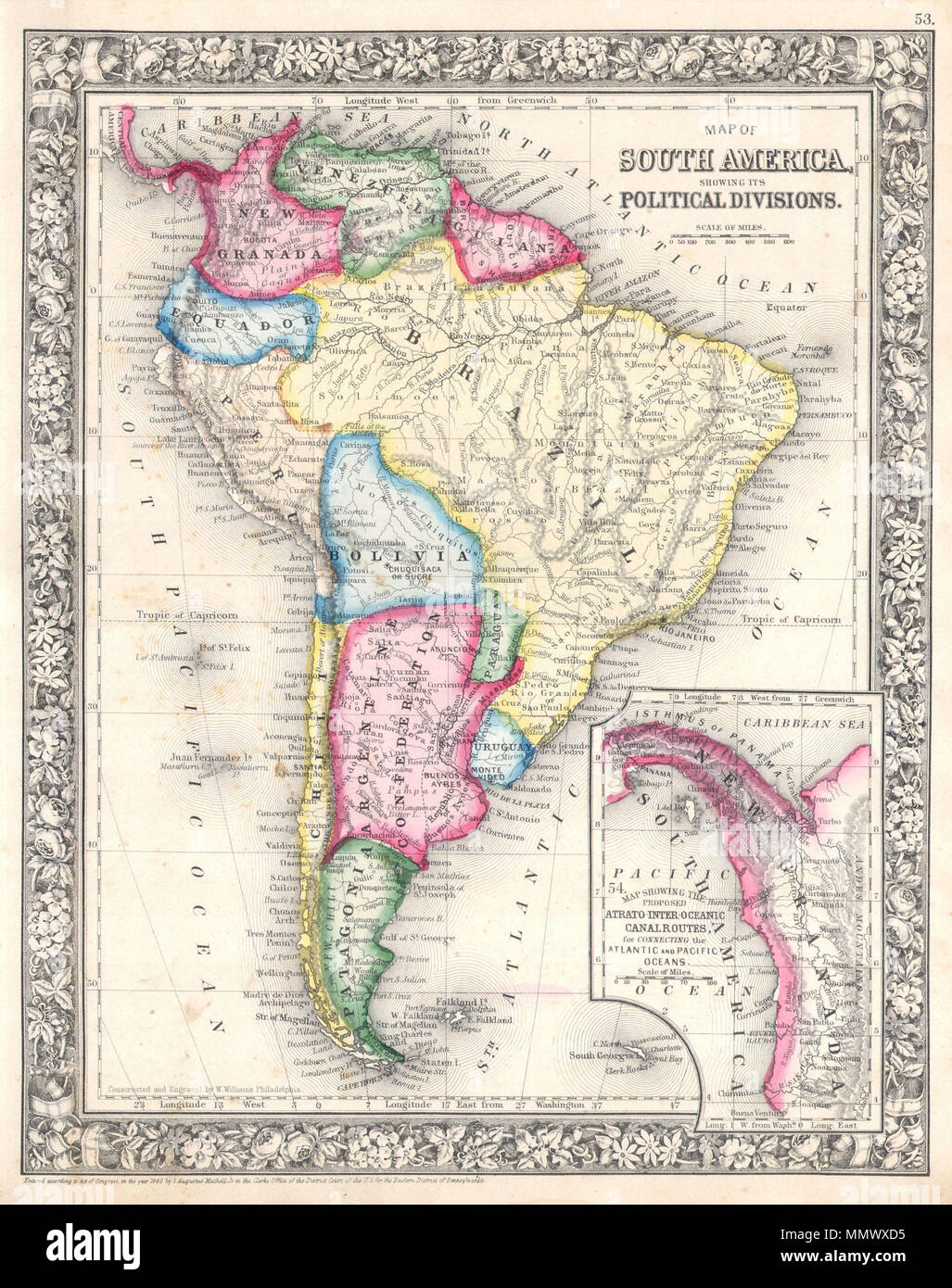 English A Beautiful Example Of S A Mitchell Jr S 1864 Map Of