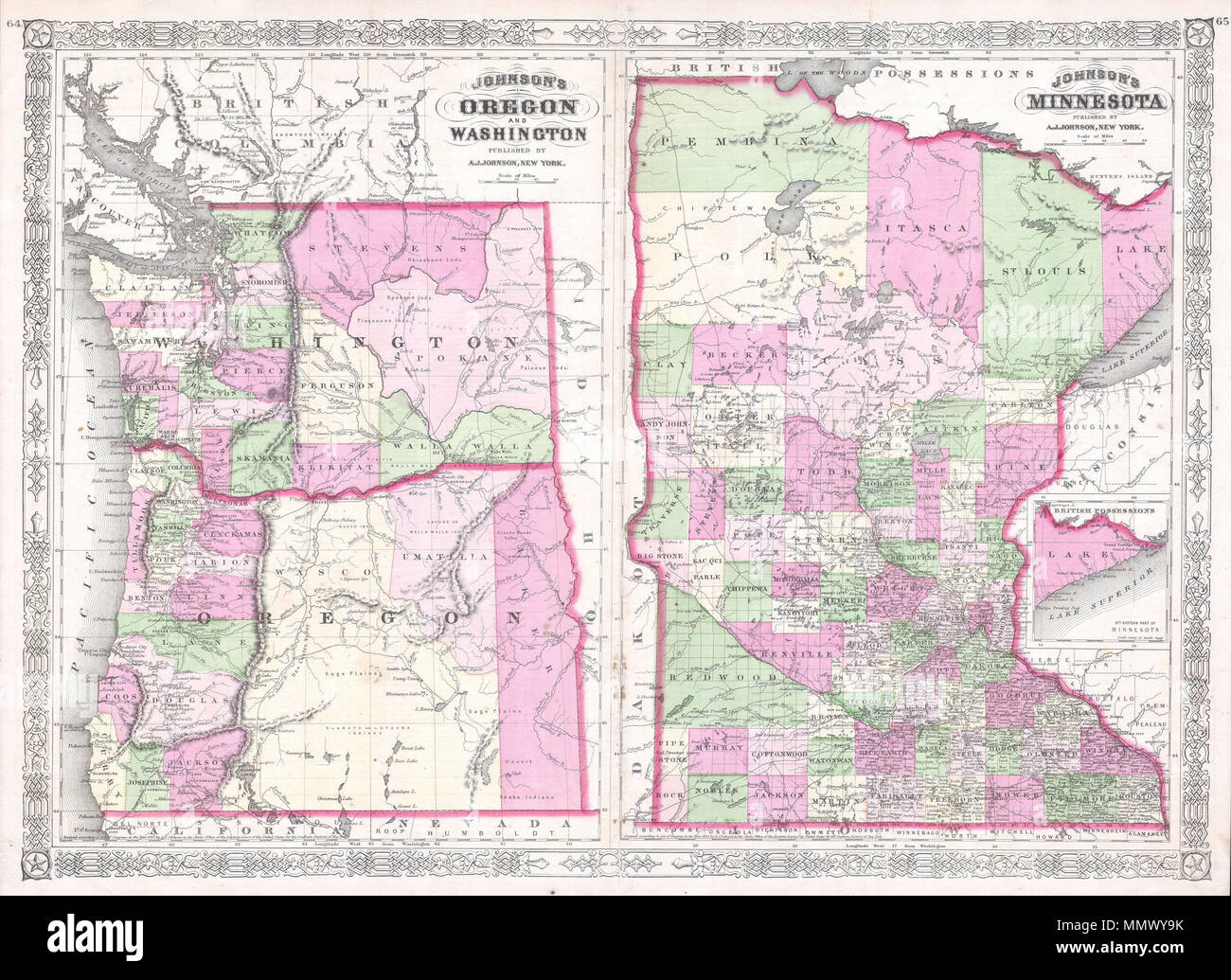 English This Is A Magnificent 1865 Hand Colored Map Of Washington