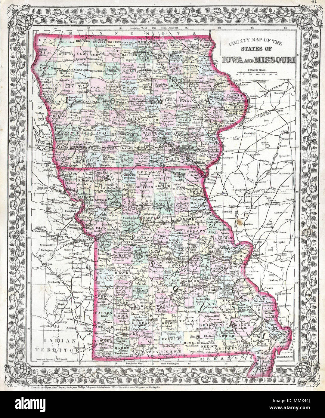 English This Hand Colored Antique Map Of Iowa And Missouri Is A