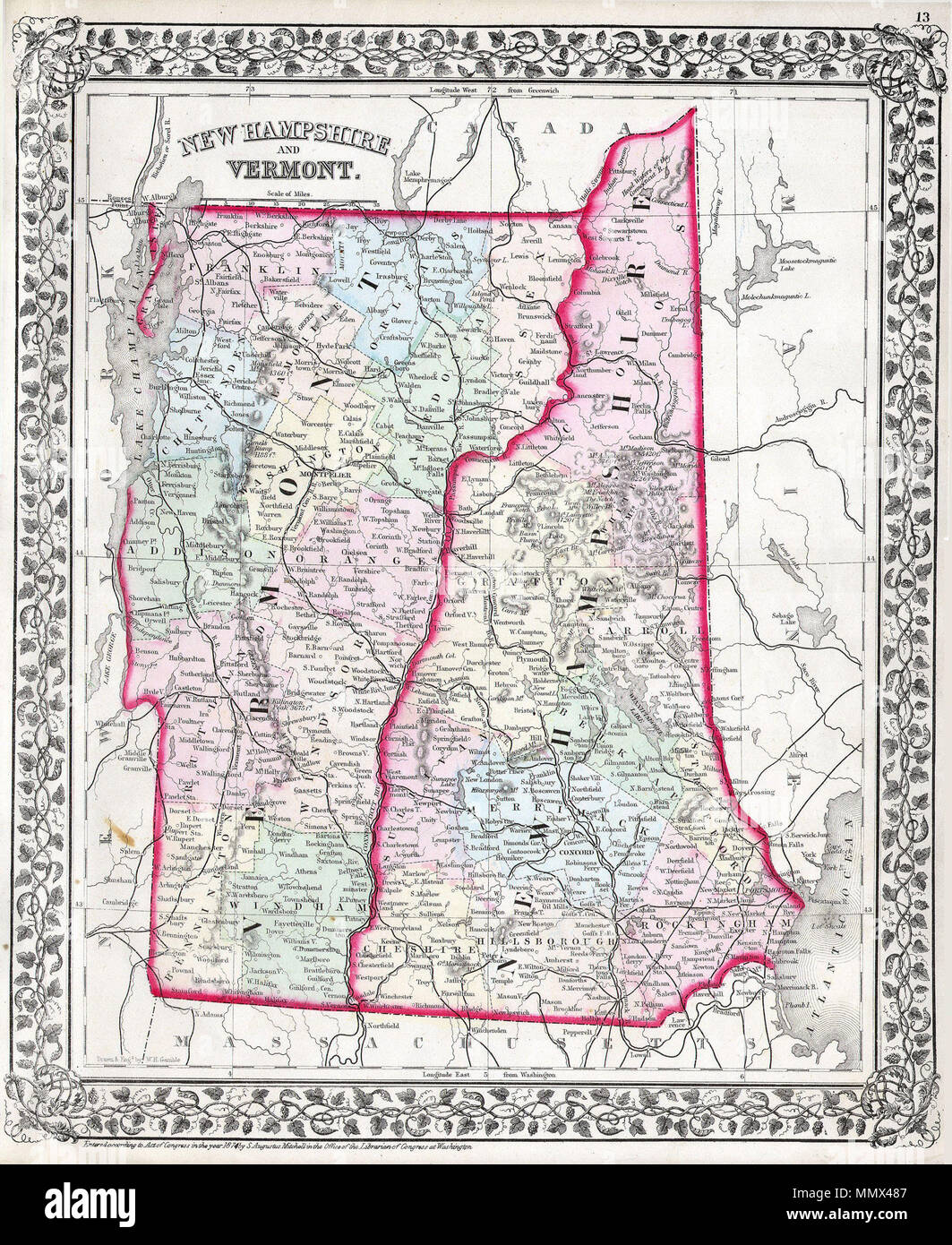 English: This hand colored antique map of Vermont and New Hampshire ...