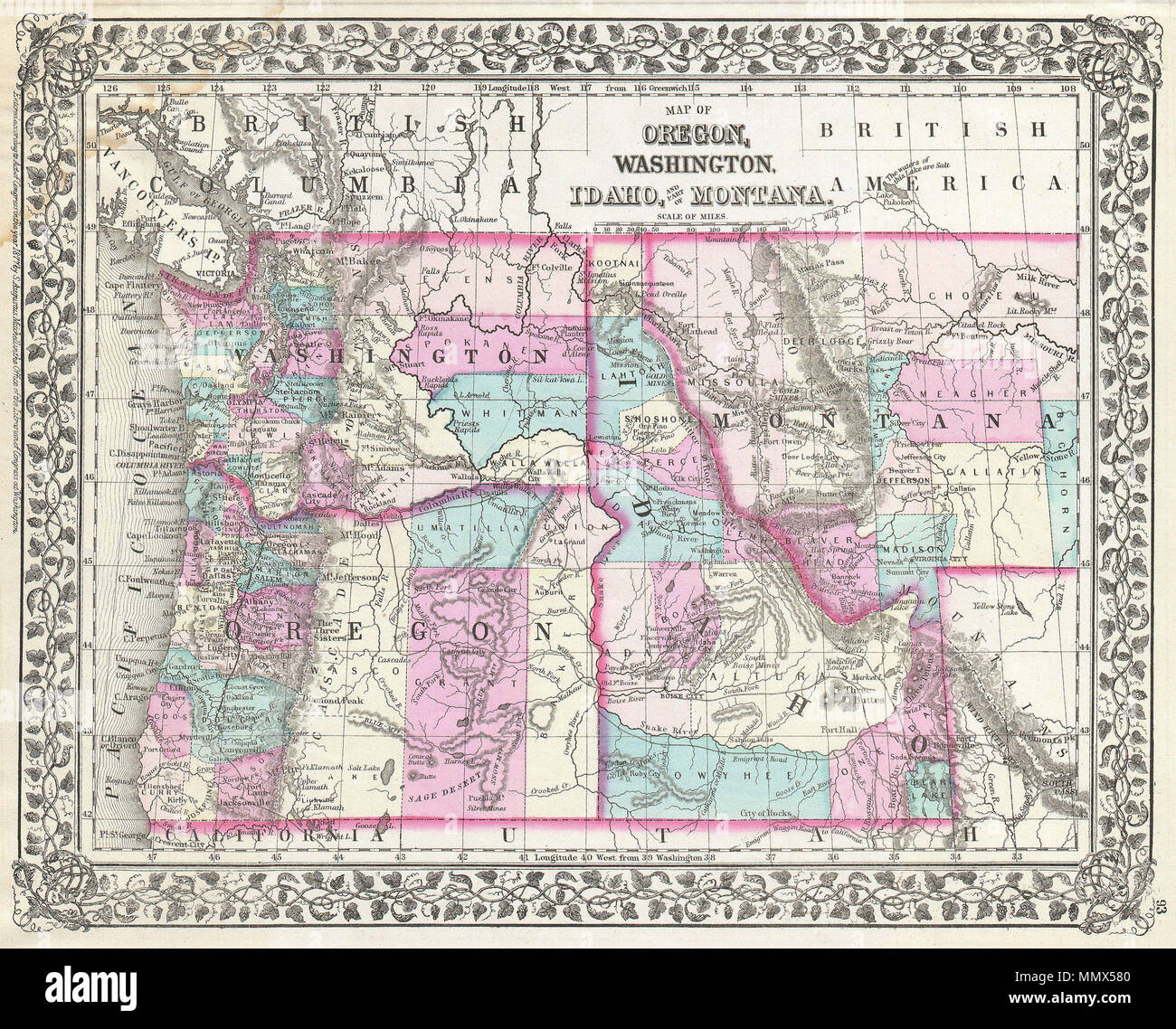 English A Beautiful Example Of S A Mitchell Junior S 1877 Map Of