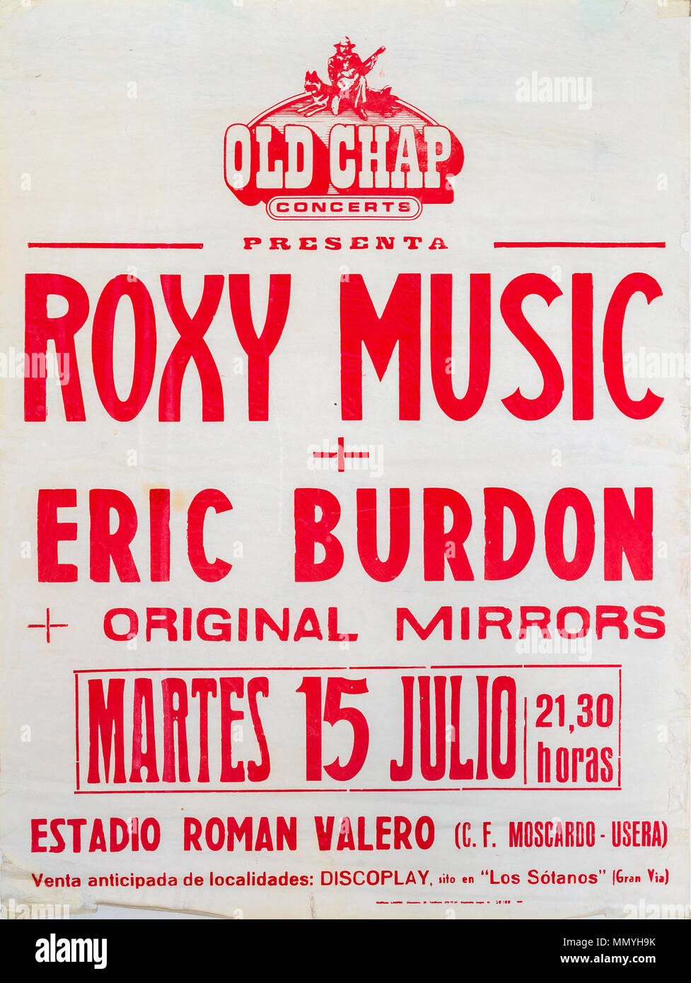 Roxy Music and Eric Burdon, Madrid tour 1980, Musical concert poster Stock Photo