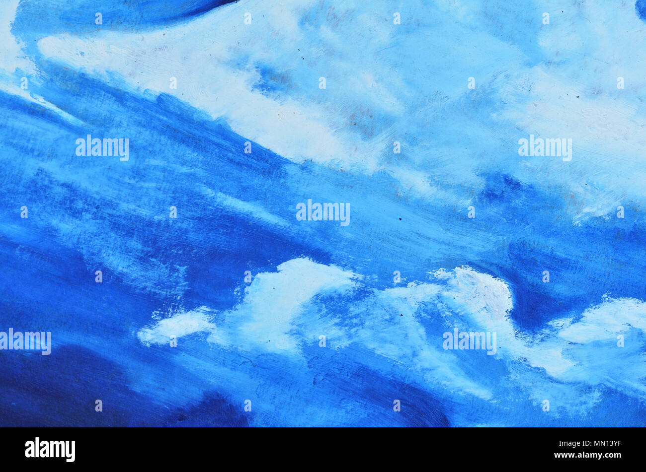 a blue sky with white clouds is painted with watercolor paint on